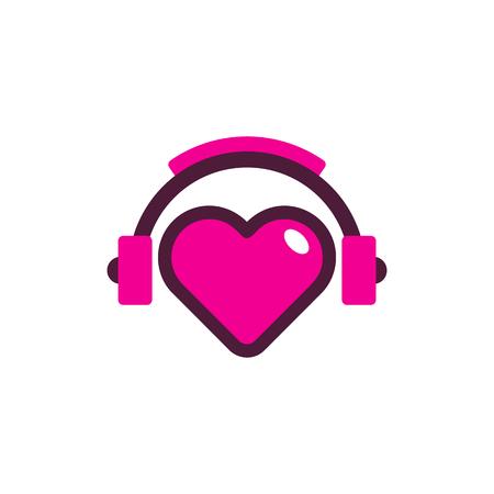 Diseño de icono de logotipo de música de amor