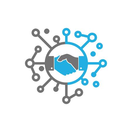 Handdruk netwerk embleemontwerp pictogram