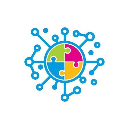 Puzzle Network Logo Icon Design Banque d'images - 101704430