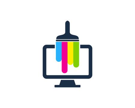 Conception d & # 39; icône de logo de peinture de moniteur
