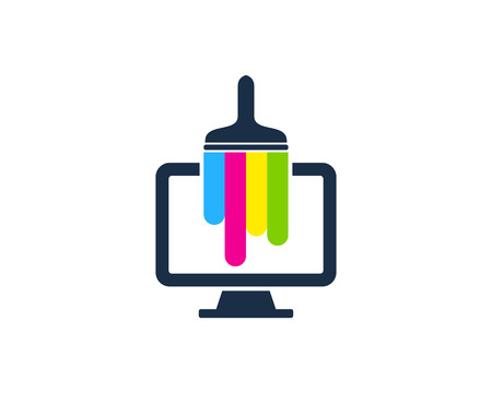 Monitor Paint Logo Icon Design