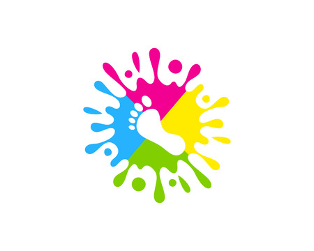 Conception d & # 39; icône de logo de peinture de pied