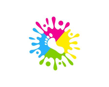 Diseño de icono de logotipo de pintura de pie
