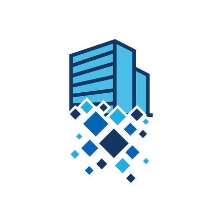 Building Pixel Logo Icon Design Ilustrace