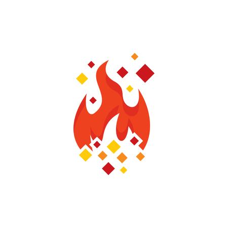 Burn Pixel Logo Icon Design Ilustração