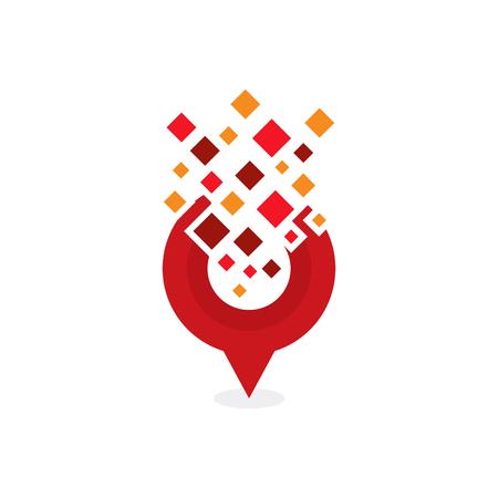Point Pixel Logo Icon Design