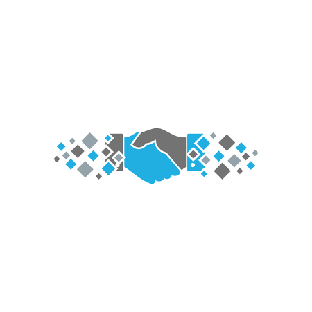 Handshake Pixel Logo Icon Design Illustration