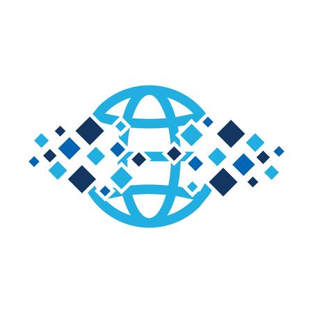 Globe Pixel Logo Icon Design Illustration