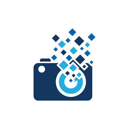 Camera Pixel Logo Icon Design 向量圖像