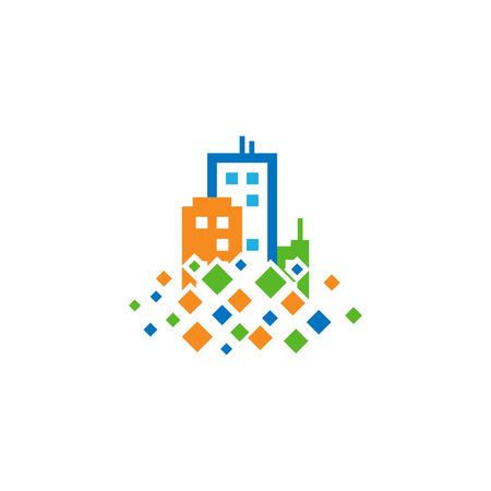 Town Pixel Logo Icon Design Stock Vector - 101767007