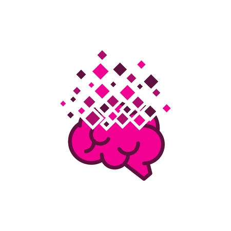 Brain Pixel Logo Icon Design