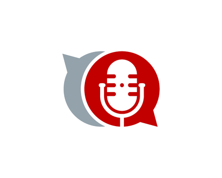 Chatting Podcast Logo Icon Design Illustration