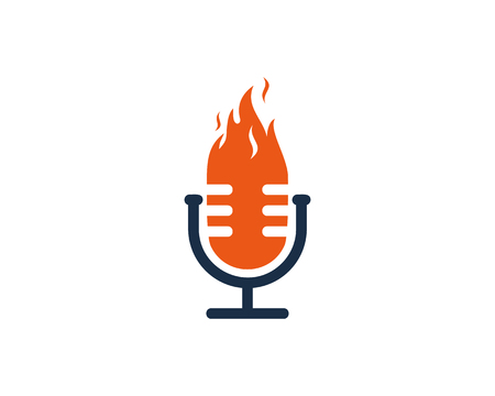 Burn Podcast Logo Icon Design Vectores