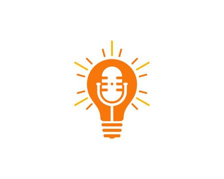 Bulb Podcast Logo Icon Design Ilustração