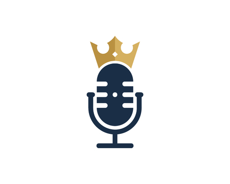 Crown Podcast Logo Icon Design Illustration