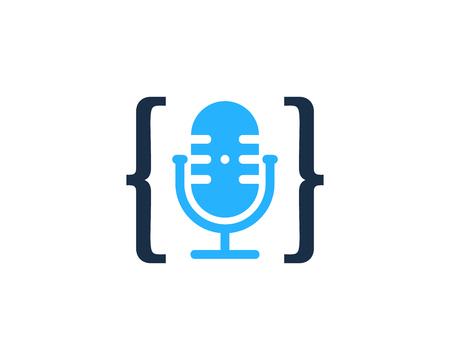 Conception d & # 39; icône de logo de podcast de code Logo