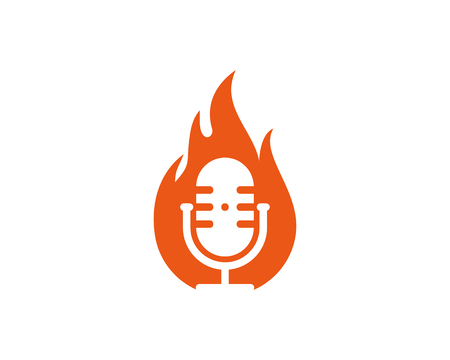 Fire Podcast Logo Icon Design