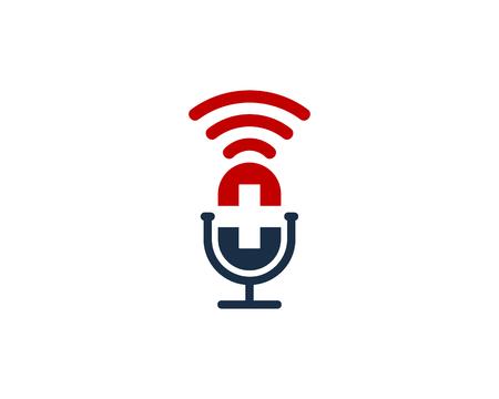 Diseño de icono de logotipo de podcast médico Foto de archivo - 101827423
