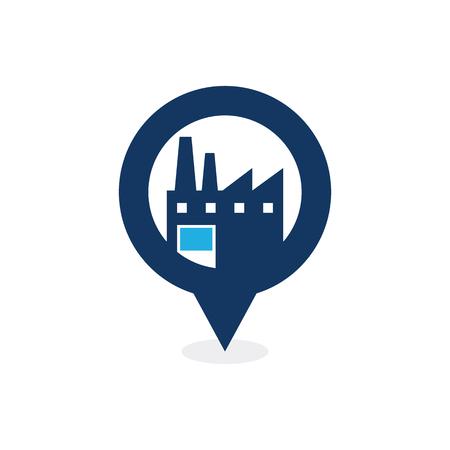 Diseño de icono de logotipo de punto de fábrica