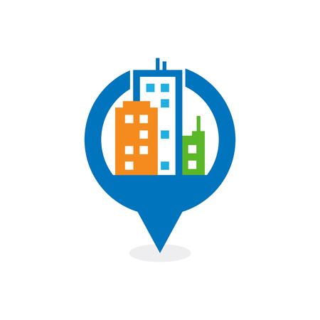 Town Point Logo Icon Design Stock Illustratie