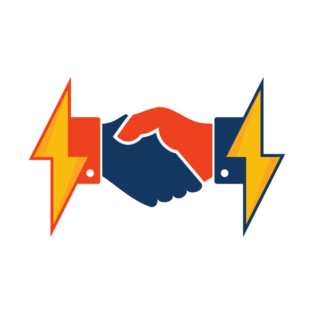 Handshake Power Energy Logo Icon Design