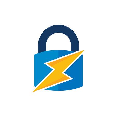 Lock Power Energy Logo Icon Design Ilustração
