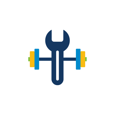 Barbell Repair Logo Icon Design