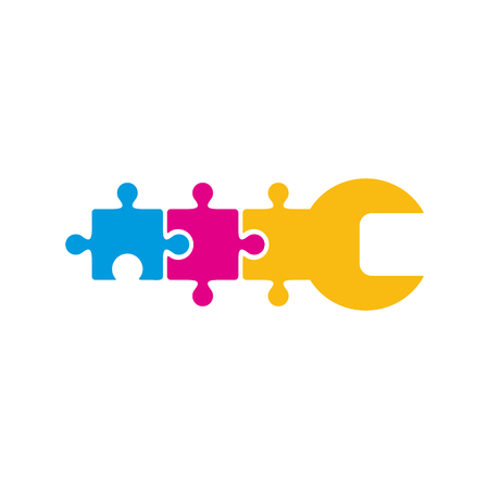Puzzle Repair Logo Icon Design 일러스트