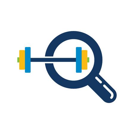 Barbell Search Logo Icon Design
