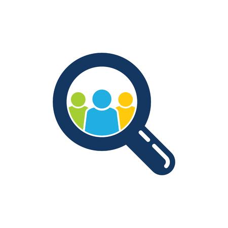 Team Search Logo Icon Design Illustration