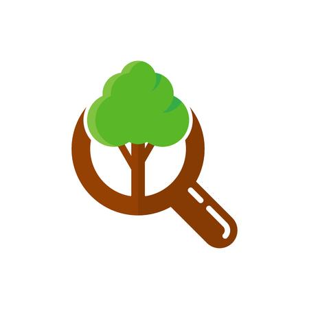 Tree Search Logo Icon Design