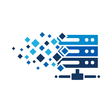 Pixel Server Logo Icon Design Ilustração