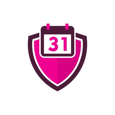 Calendar Shield Logo Icon Design