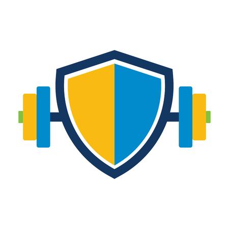 Barbell Shield Logo Icon Design
