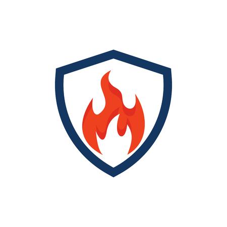 Fire Shield Logo Icon Design 向量圖像