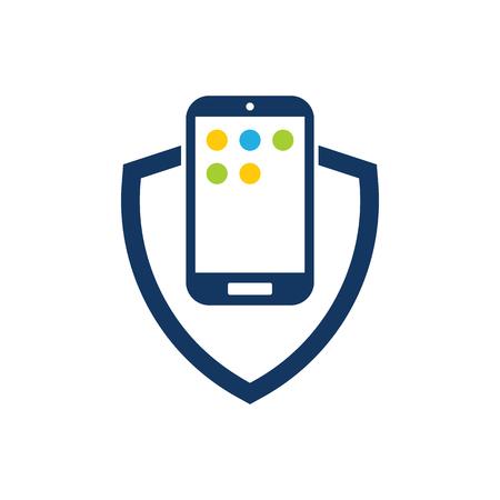 Mobile Shield Logo Icon Design