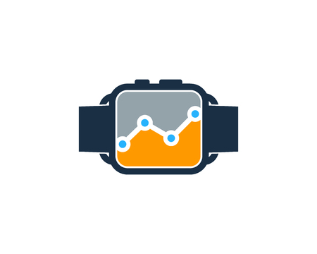 Stats Smart Watch Logo Icon Design  イラスト・ベクター素材