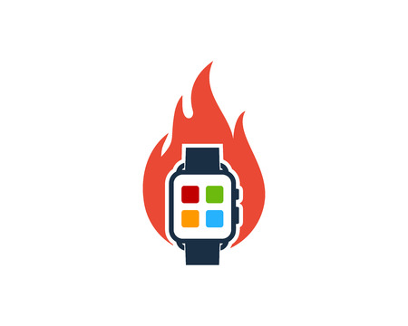 Fire Smart Watch Logo Icon Design Vettoriali