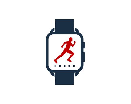 Run Smart Watch Logo Icon Design