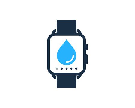 Water Smart Watch Logo Icon Design