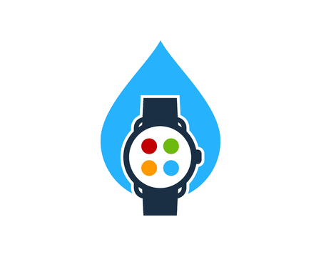 Liquid Smart Watch Logo Icon Design