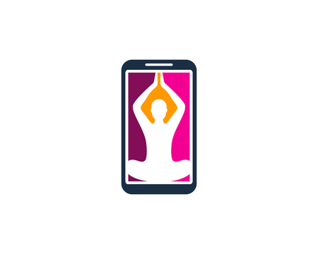 Yoga Smartphone Logo Icon Design 矢量图像