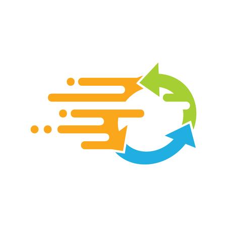 Recycle Speed Logo Icon Design Çizim