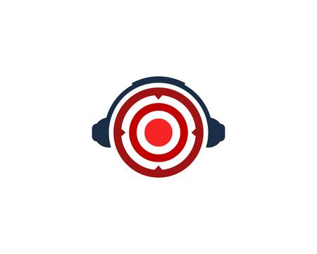 Headphone Target Logo Icon Design