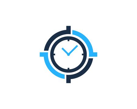 Time Target Logo Icon Design Ilustrace