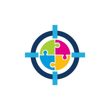 Puzzle Target Logo Icon Design