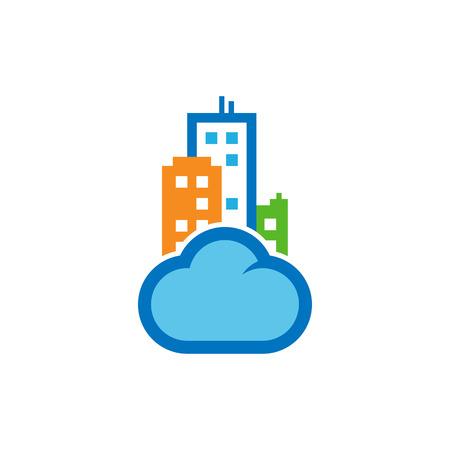 Cloud Town Logo Icon Design Stock Illustratie