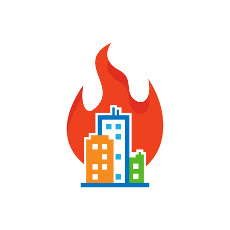Burn Town Logo Icon Design Stock Illustratie