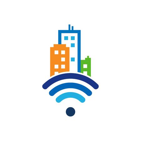 wireless internet Town Logo Icon Design
