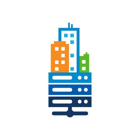 Server Town Logo Icon Design Stock Illustratie
